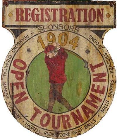 Golf Tournament Registration Antiqued Wood Sign