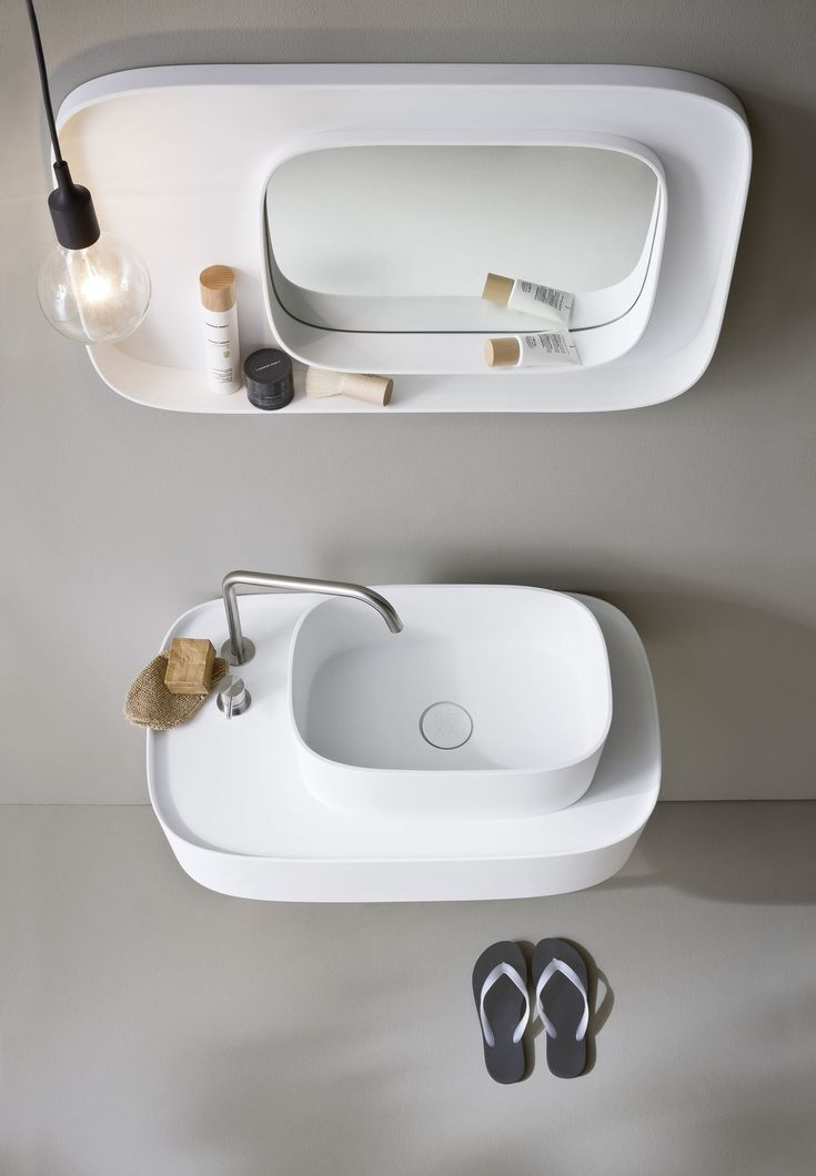Square bathroom mirror Fonte Collection by Rexa Design | #design Monica Graffeo @rexadesign