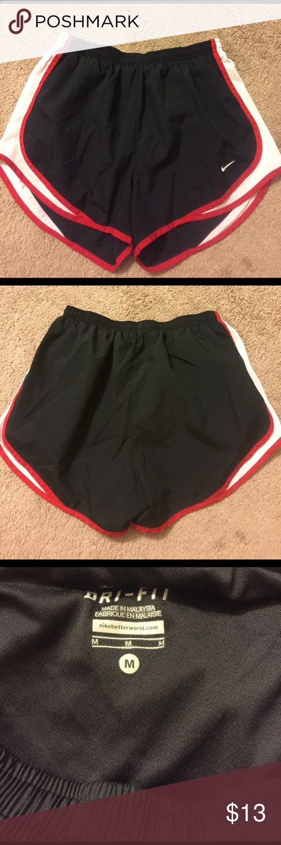 Women's Nike Tempo Running Shorts-Med Black with red and white trim running shorts. Nike Tempo. Size medium. Pet and smoke free home.  Nike Shorts