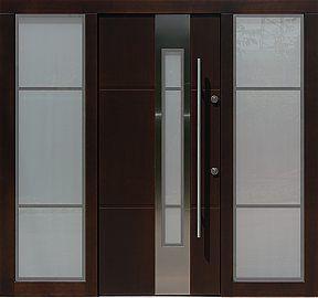 Drzwi zewnętrzne ze stałymi dostawkami doświetlami bocznymi model 449,2+ds9 w kolorze dąb bagienny