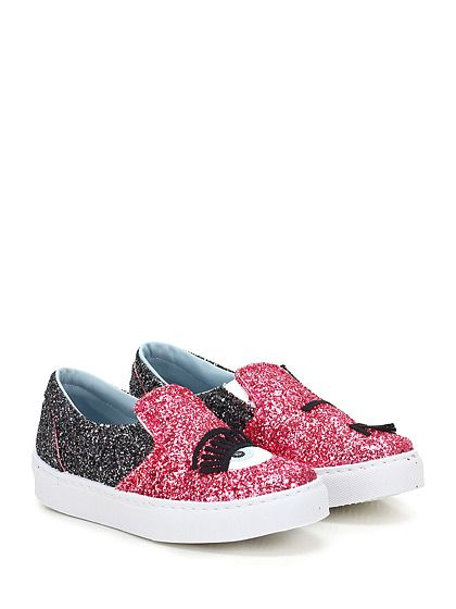 Chiara Ferragni - Sneakers - Women - Snaker in glitter con inserti elasticizzati su ambo i lati ed applicazione frontale. Suola in gomma, tacco 35. - ROSA\NERO