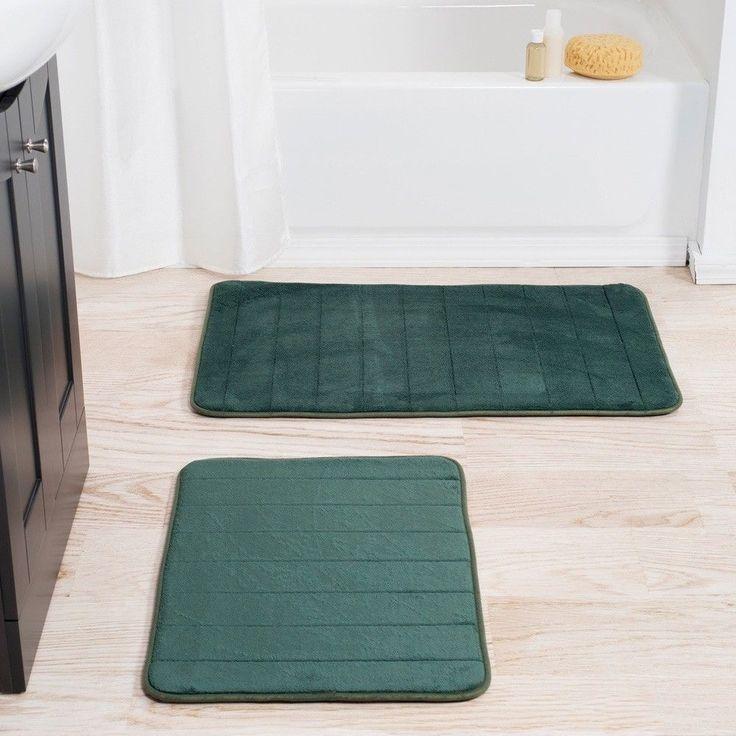 Memory Foam Cushion Plush Green Bath Mat Decor with Non Skid Backing (Set of 2) #BathMat #MemoryFoam #Cushion #BathRug #DoorMat #Mat #Rug #SkidResistant #NonSlip #Home #Kitchen #Bathroom #Bath