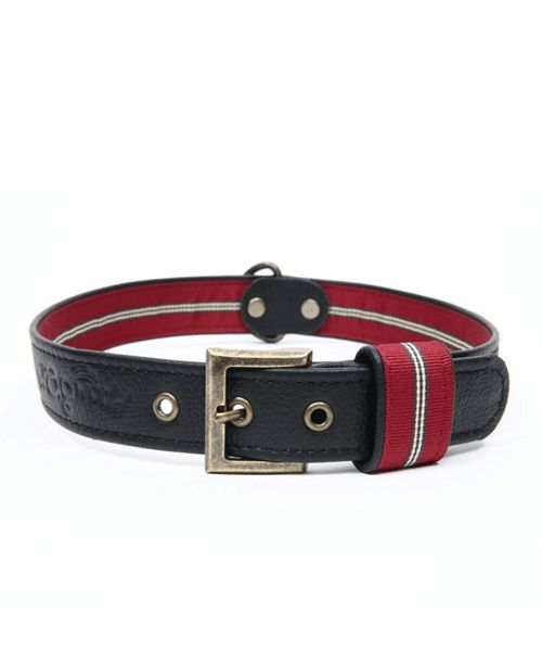 WAGWORLD BLACK LEATHER DOG COLLAR - LARGE. Available from Nuzzle.co.za