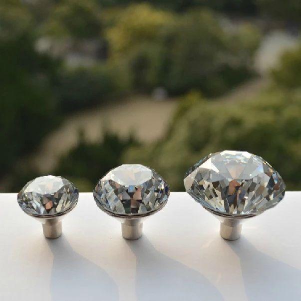 10pcslot 30mm zinc alloy handles clear crystal sparkle glass kitchen cabinet knobs dresser cupboard