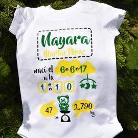 Body de algodón, para celebrar el nacimiento de un nuevo bebé: con su peso, altura y fecha de nacimiento.