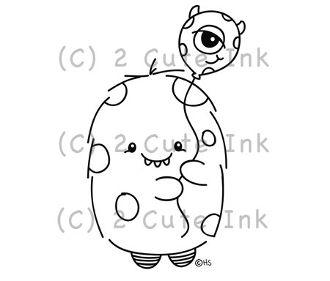 Monster Balloon 2 Cute Ink Digital Stamp $3.00