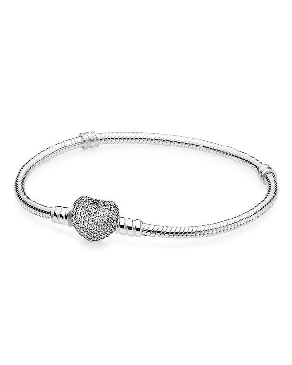 "Pandora Bracelet - Sterling Silver & Cubic Zirconia Pave Heart, Moments Collection | Imported | Style #590727CZ | Clasp closure | Shop <a href=""http://www1.bloomingdales.com/shop/pandora/Bopsradius,Je"