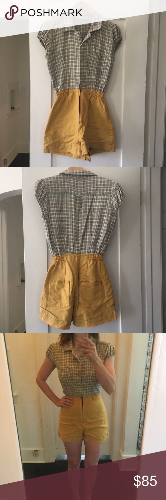 MANDATE OF HEAVEN romper insanely cute handmade romper from indie brooklyn designer MANDATE OF HEAVEN. size 4, EUC! repurposed flannel top with princess sleeves and super flattering high waisted mustard short! perfect for summer ☀️ Anthropologie Shorts
