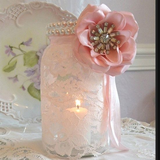 mason jar wedding decorations for sale | Mason jar + lace + pearls + flower= gorgeous!
