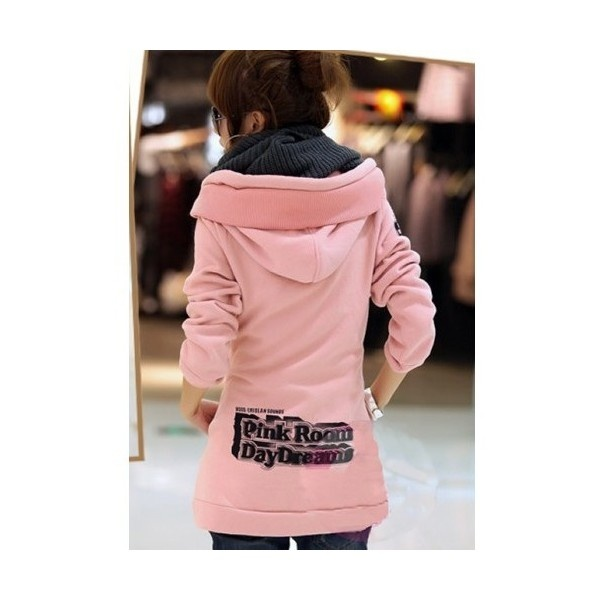 Buy Korean Fashion Hoodie Cotton Blends Flannel Free Size Pink Horn... via Polyvore