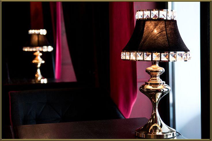 Lampka stołowa kryształowa ANDREA brąz złota Eurostar