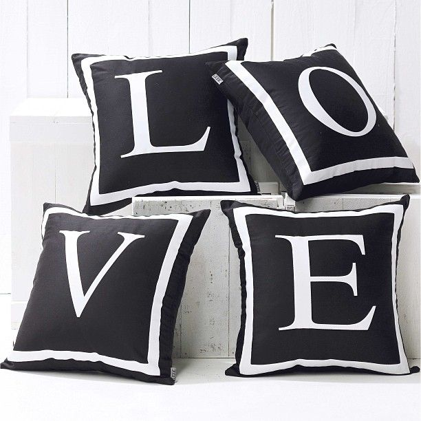 Monogram Cushions Letters Love Black And White Cushion
