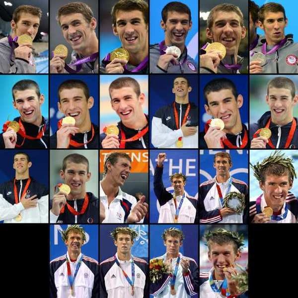 U.S. swimmer Michael Phelps and his 22 medals