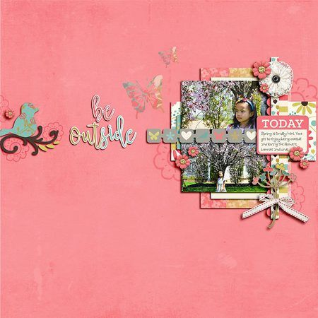 Be Outside digital scrapbook layout featuring the Let's Talk Spring collection by Mye De Leon available at www.snapclicksupply.com #digitalscrapbooking