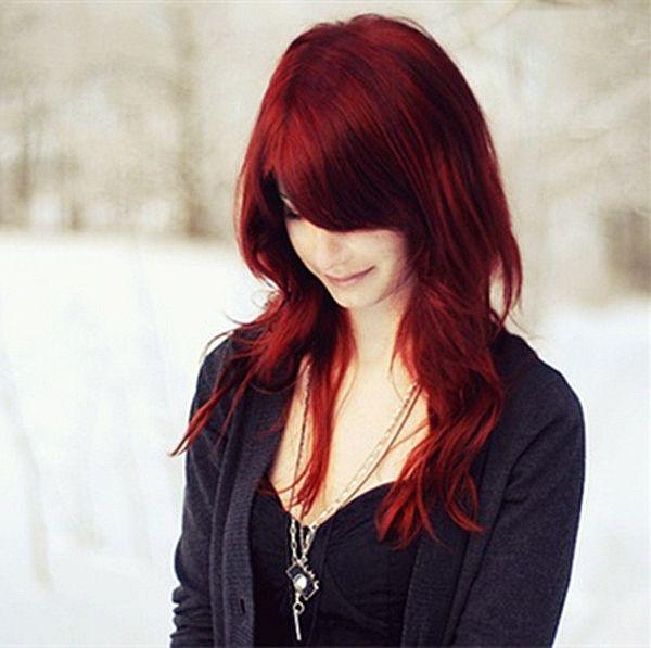 Wonderful scarlet hair color