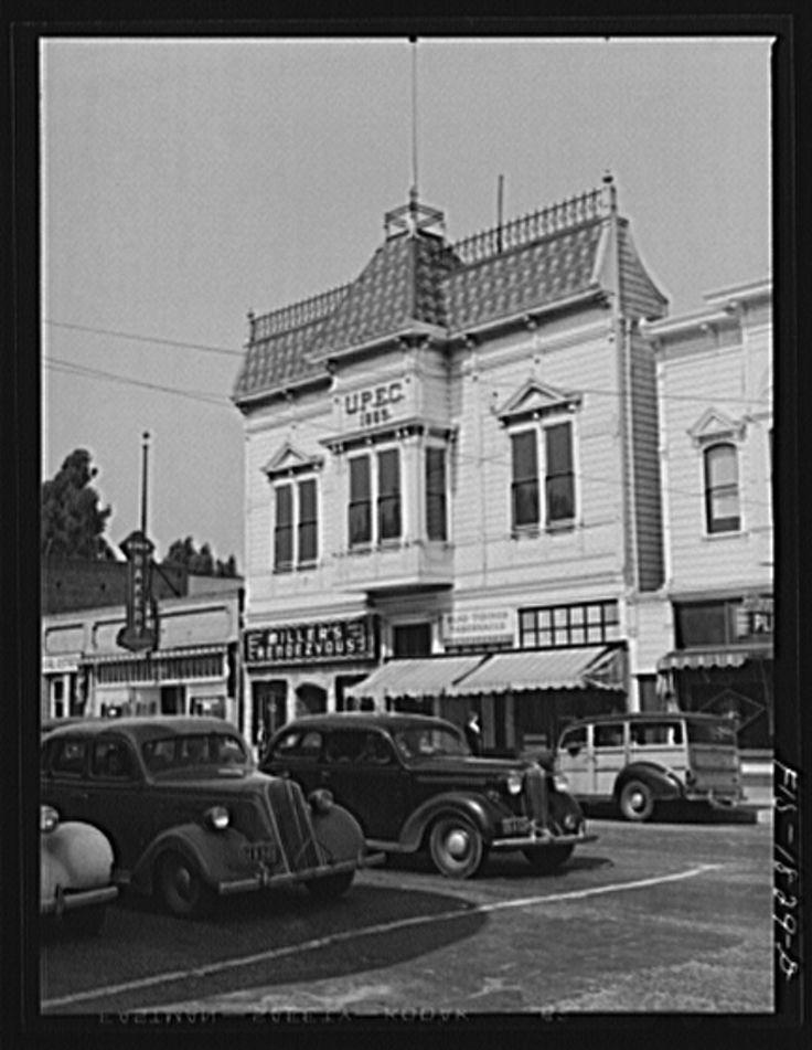 San Leandro, Alameda, California-1942-Home of the (Uniao Portugueza do Estado da California (UPEC), a Portuguese fraternal order, which was established in 1880 and now has a membership of 1735 in San Leandro, California Photographer Russell Lee-Photogrammar