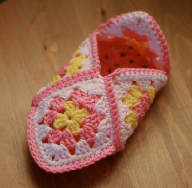 Granny Square Slippers Pattern Free | Crocheting Ideas | Project on Craftsy: Granny Square Slippers