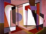 Frank Hinder  Red Fugue (Painting no 2 1948),1948   tempera on gesso on canvas on hardboard   signed & dated   54.6 x 75.6