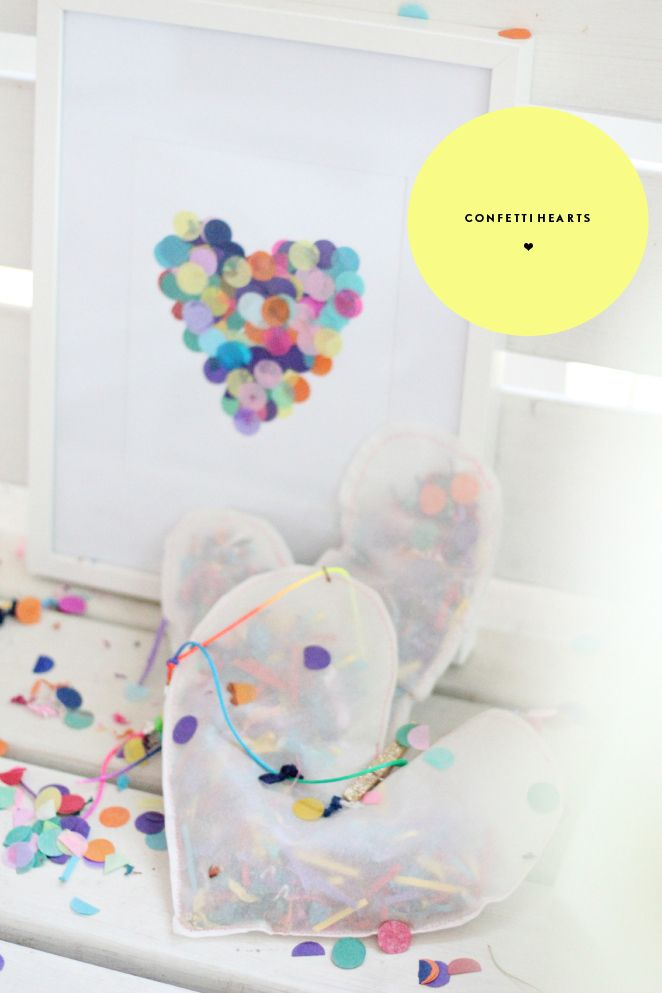 PJ Night Activity: Confetti Hearts! We love this sweet and simple art project! #pjnight: Simple Art Projects, Heart Prints, Confetti Heart Tiffanypratt, Heart Club, Diy Diaries, Diy'S, Heart Wall Art, Heart Art, Pconfetti Heart