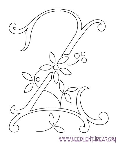 Monogram for Hand Embroidery: The Letter Z