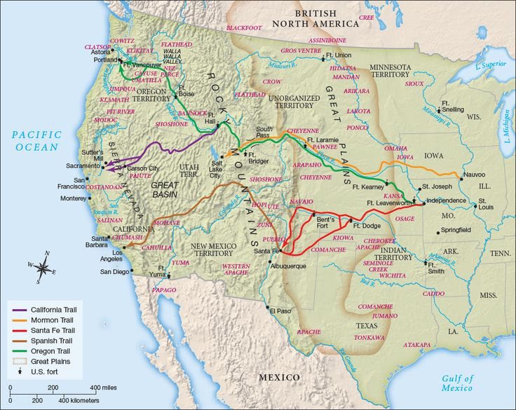 Map of the Western U.S. denoting the California, Mormon, Santa Fe, Spanish, and Oregon Trails and the territory of the Great Plains.