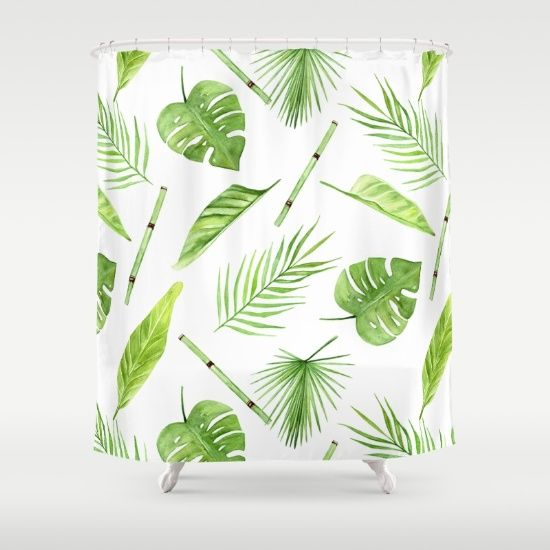 watercolor pattern tropical leaves Shower Curtain