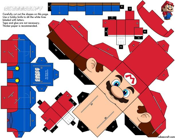 Blog Paper Toy papertoys Mario template preview Papertoys Mario by Cubeecraft (x2)