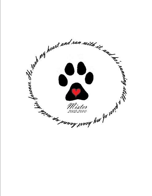 "Memorial paw print tattoo ~ ""He took my heart and ran with"