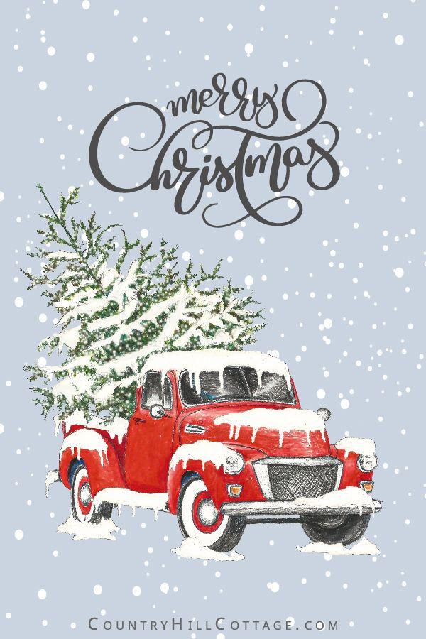 Christmas Truck Free Printable Wall Art Greeting Cards Gift Tags Free Christmas Printables Merry Christmas Wallpaper Christmas Truck With Tree