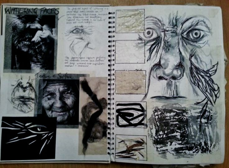 Art Sketchbook - mark making & texture exploration; art & design portfolio // Hannah Culley