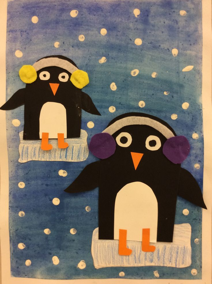 Pingviini 2.lk Vesiväripohja, askartelua kartongista ja huovasta, lapset tykkäsi
