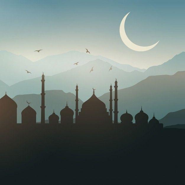 Ramadan landscape background at sunset Free Vector