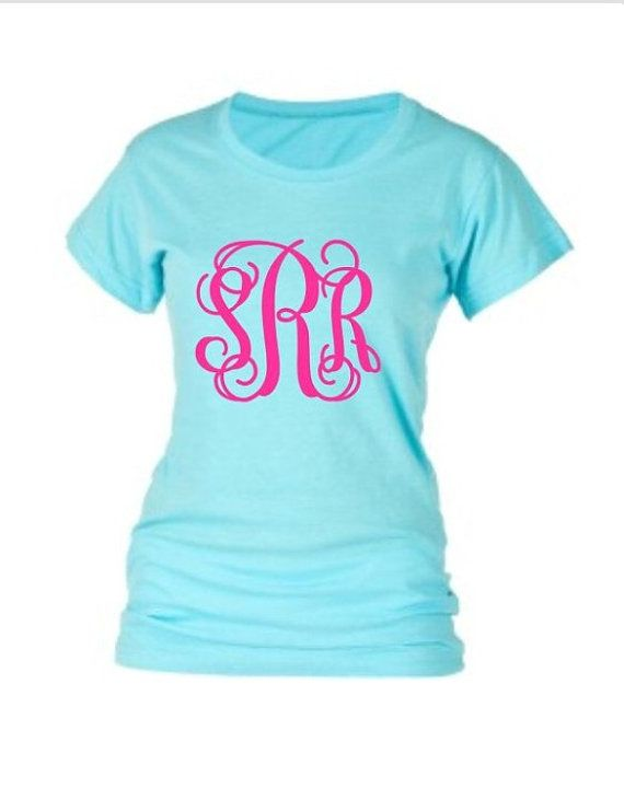 Glitter Monogram T Shirt Shirt Short Sleeve by PoshPrincessBows1, $21.50