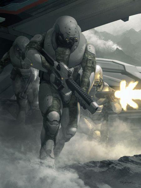Geoffroy Thoorens djahalland deviantart ilustrações arte conceitual guerras futuristas batalhas tecnologia Galaxy Saga - Soldado do planeta venenoso