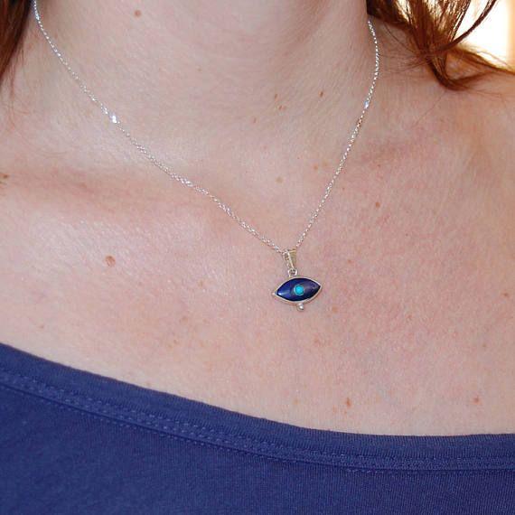 Sea opal eye Evil eye necklace Traditional evil eye Sea