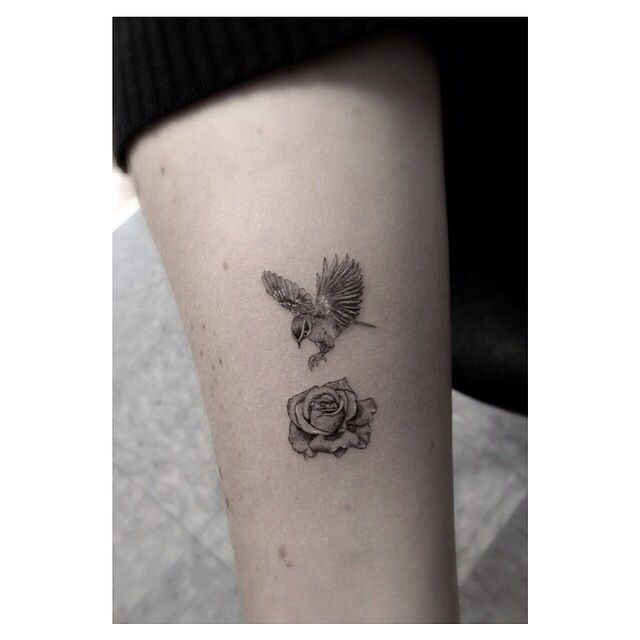Bird and rose tiny detailed tattoo, Dr Woo | Inked Soul ...