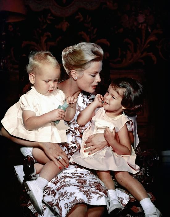 Princess Grace of Monaco with little Prince Albert and Princess Caroline, 1959. Photos by Philippe Halsman.
