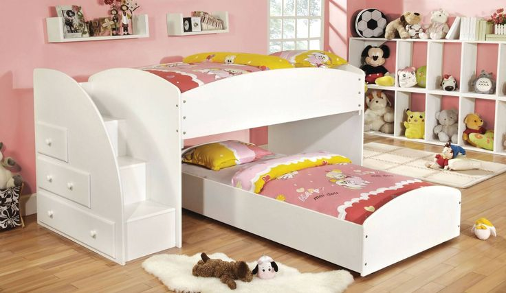 Furniture of America CM-BK921WH-T Merritt Contemporary White Twin over Twin Bunk Bed with Step