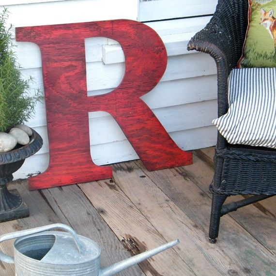 Initials have been overdone but I just can't help myself- I need a big red P for my house.