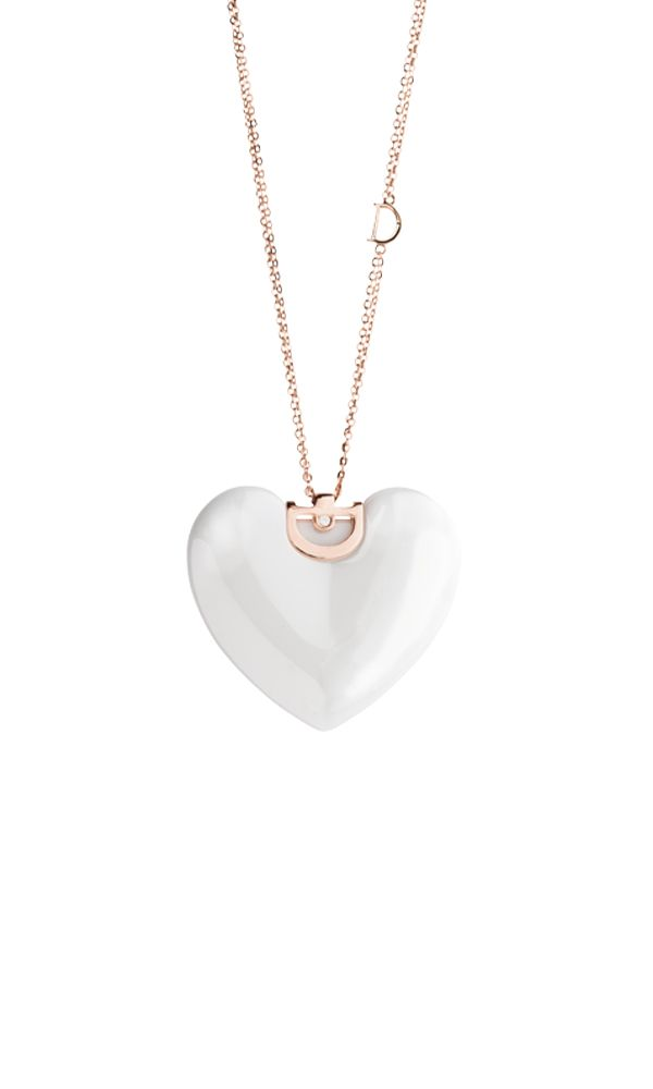 D.Icon white ceramic and pink gold necklace with diamond