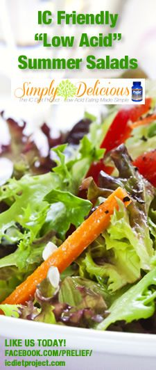 """IC Friendly Summer Salads - It's almost summer and you know what that means; it's time for salads! But, if you are a person with acid sensitivity you are probably asking yourself, """"What can I put on my salads?"""" My answer is, """"Plenty!"""" The fact is, salads don't have to be acidic at all.  http://www.icdietproject.com/?p=64"""