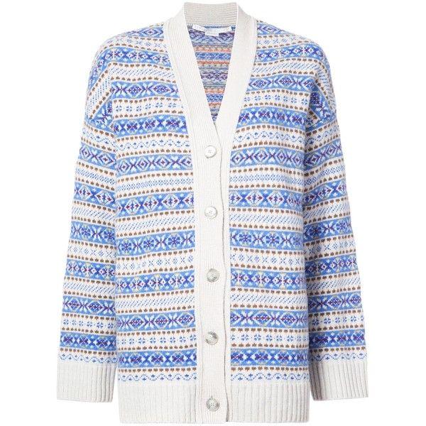 Stella McCartney Blue Multi Fairisle V-Neck Cardigan (14.566.260 IDR) ❤ liked on Polyvore featuring tops, cardigans, blue multicolor, colorful cardigan, multi color cardigan, white top, white long sleeve top and white oversized cardigan