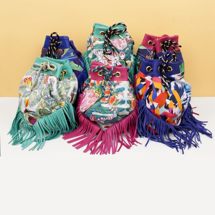 Forget me not x K bag - leather fringes. luxury and tropical bag