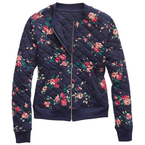 Aerie Quilted Bomber ($37) ❤ liked on Polyvore featuring outerwear, jackets, style bomber jacket, navy bomber jacket, navy blue jackets, blue jackets and full zip jacket