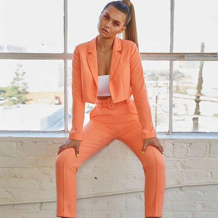 Alibaba.com / Women two pieces clothing sets 2019 fashion girl fashion blazer ladies sexy coat and pants sets 3