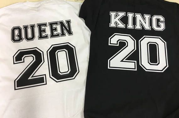 Pack de 2 camisetas personalizadas para parejas KING and QUEEN