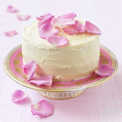 Sugar rose petal cake - a pretty wedding cake idea with edible flowers. For the full recipe, click the picture or see http://www.redonline.co.uk