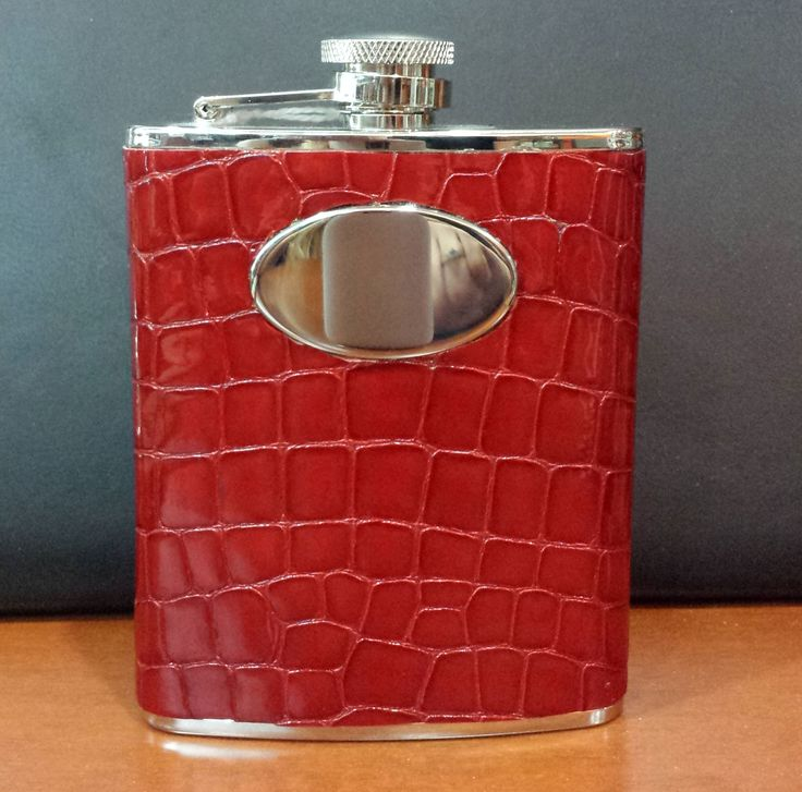 A great way to enjoy the weekend: a flask covered in DiModa Gatora Scarlotto by Leather World in Coral Gables, FL.