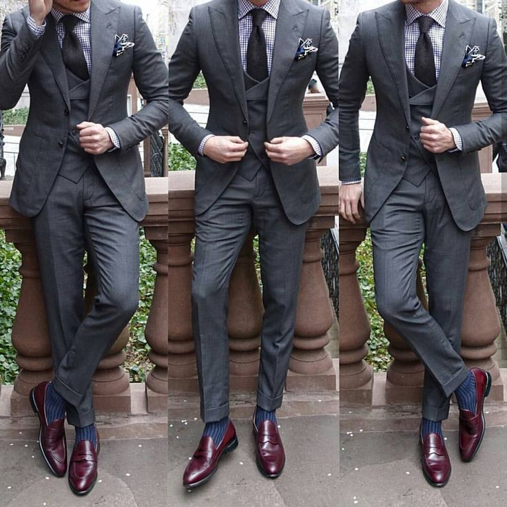 Charcoal suit. Burgundy shoes. @menslaw • 3,699 Me gusta