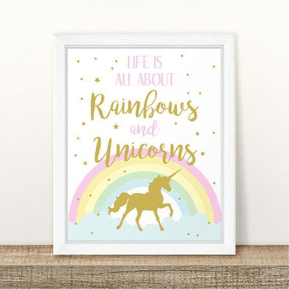 Printable Unicorn Birthday Sign Rainbows and Unicorns